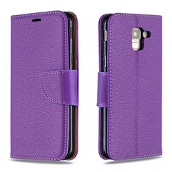 Classic Luxury Litchi Leather Phone Wallet Case for Samsung Galaxy J6 (2018) SM-J600F - Purple