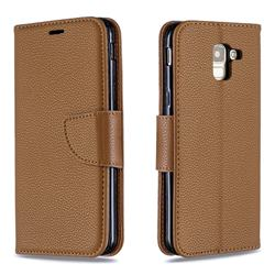 Classic Luxury Litchi Leather Phone Wallet Case for Samsung Galaxy J6 (2018) SM-J600F - Brown