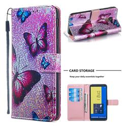 Blue Butterfly Sequins Painted Leather Wallet Case for Samsung Galaxy J6 (2018) SM-J600F