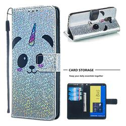 Panda Unicorn Sequins Painted Leather Wallet Case for Samsung Galaxy J6 (2018) SM-J600F