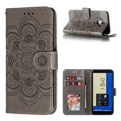 Intricate Embossing Datura Solar Leather Wallet Case for Samsung Galaxy J6 (2018) SM-J600F - Gray