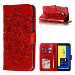 Intricate Embossing Datura Solar Leather Wallet Case for Samsung Galaxy J6 (2018) SM-J600F - Red