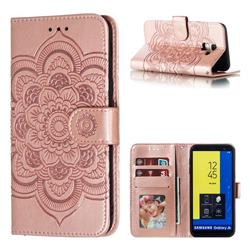 Intricate Embossing Datura Solar Leather Wallet Case for Samsung Galaxy J6 (2018) SM-J600F - Rose Gold