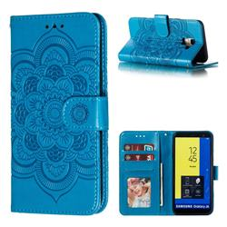 Intricate Embossing Datura Solar Leather Wallet Case for Samsung Galaxy J6 (2018) SM-J600F - Blue