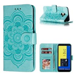 Intricate Embossing Datura Solar Leather Wallet Case for Samsung Galaxy J6 (2018) SM-J600F - Green