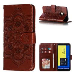 Intricate Embossing Datura Solar Leather Wallet Case for Samsung Galaxy J6 (2018) SM-J600F - Brown