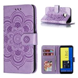 Intricate Embossing Datura Solar Leather Wallet Case for Samsung Galaxy J6 (2018) SM-J600F - Purple