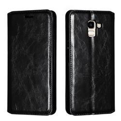Retro Slim Magnetic Crazy Horse PU Leather Wallet Case for Samsung Galaxy J6 (2018) SM-J600F - Black