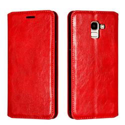 Retro Slim Magnetic Crazy Horse PU Leather Wallet Case for Samsung Galaxy J6 (2018) SM-J600F - Red