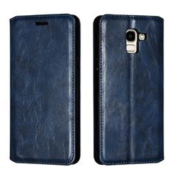 Retro Slim Magnetic Crazy Horse PU Leather Wallet Case for Samsung Galaxy J6 (2018) SM-J600F - Blue