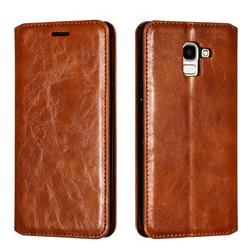Retro Slim Magnetic Crazy Horse PU Leather Wallet Case for Samsung Galaxy J6 (2018) SM-J600F - Brown