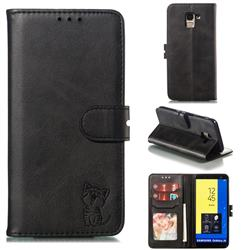 Embossing Happy Cat Leather Wallet Case for Samsung Galaxy J6 (2018) SM-J600F - Black