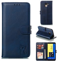 Embossing Happy Cat Leather Wallet Case for Samsung Galaxy J6 (2018) SM-J600F - Blue