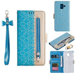 Luxury Lace Zipper Stitching Leather Phone Wallet Case for Samsung Galaxy J6 (2018) SM-J600F - Blue