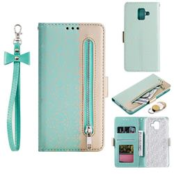 Luxury Lace Zipper Stitching Leather Phone Wallet Case for Samsung Galaxy J6 (2018) SM-J600F - Green