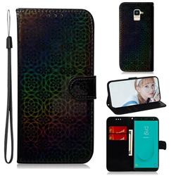 Laser Circle Shining Leather Wallet Phone Case for Samsung Galaxy J6 (2018) SM-J600F - Black