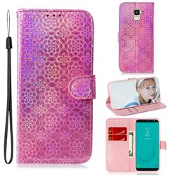 Laser Circle Shining Leather Wallet Phone Case for Samsung Galaxy J6 (2018) SM-J600F - Pink