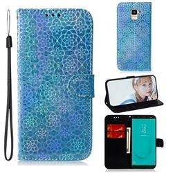 Laser Circle Shining Leather Wallet Phone Case for Samsung Galaxy J6 (2018) SM-J600F - Blue