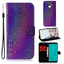 Laser Circle Shining Leather Wallet Phone Case for Samsung Galaxy J6 (2018) SM-J600F - Purple