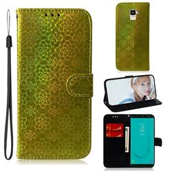 Laser Circle Shining Leather Wallet Phone Case for Samsung Galaxy J6 (2018) SM-J600F - Golden