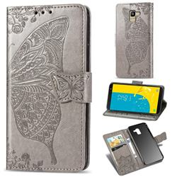 Embossing Mandala Flower Butterfly Leather Wallet Case for Samsung Galaxy J6 (2018) SM-J600F - Gray