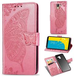 Embossing Mandala Flower Butterfly Leather Wallet Case for Samsung Galaxy J6 (2018) SM-J600F - Pink