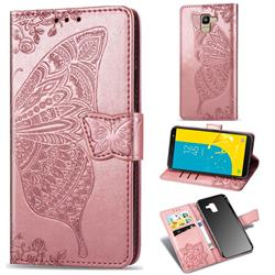 Embossing Mandala Flower Butterfly Leather Wallet Case for Samsung Galaxy J6 (2018) SM-J600F - Rose Gold