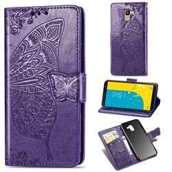Embossing Mandala Flower Butterfly Leather Wallet Case for Samsung Galaxy J6 (2018) SM-J600F - Dark Purple