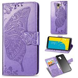 Embossing Mandala Flower Butterfly Leather Wallet Case for Samsung Galaxy J6 (2018) SM-J600F - Light Purple