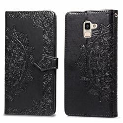 Embossing Imprint Mandala Flower Leather Wallet Case for Samsung Galaxy J6 (2018) SM-J600F - Black