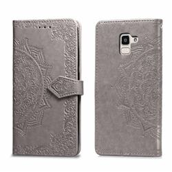 Embossing Imprint Mandala Flower Leather Wallet Case for Samsung Galaxy J6 (2018) SM-J600F - Gray