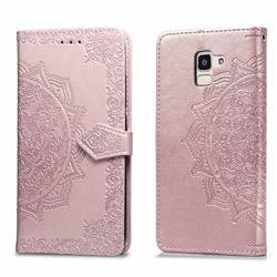 Embossing Imprint Mandala Flower Leather Wallet Case for Samsung Galaxy J6 (2018) SM-J600F - Rose Gold