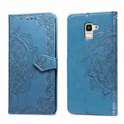Embossing Imprint Mandala Flower Leather Wallet Case for Samsung Galaxy J6 (2018) SM-J600F - Blue