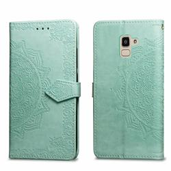 Embossing Imprint Mandala Flower Leather Wallet Case for Samsung Galaxy J6 (2018) SM-J600F - Green