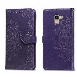 Embossing Imprint Mandala Flower Leather Wallet Case for Samsung Galaxy J6 (2018) SM-J600F - Purple