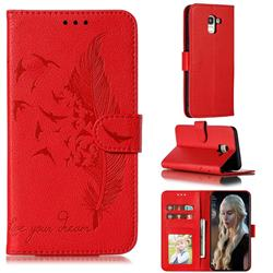 Intricate Embossing Lychee Feather Bird Leather Wallet Case for Samsung Galaxy J6 (2018) SM-J600F - Red
