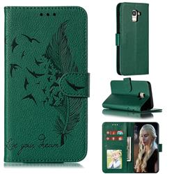 Intricate Embossing Lychee Feather Bird Leather Wallet Case for Samsung Galaxy J6 (2018) SM-J600F - Green