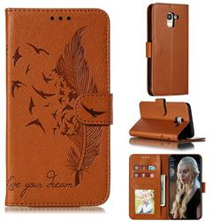 Intricate Embossing Lychee Feather Bird Leather Wallet Case for Samsung Galaxy J6 (2018) SM-J600F - Brown