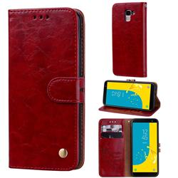 Luxury Retro Oil Wax PU Leather Wallet Phone Case for Samsung Galaxy J6 (2018) SM-J600F - Brown Red
