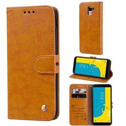 Luxury Retro Oil Wax PU Leather Wallet Phone Case for Samsung Galaxy J6 (2018) SM-J600F - Orange Yellow