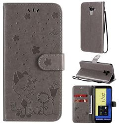 Embossing Bee and Cat Leather Wallet Case for Samsung Galaxy J6 (2018) SM-J600F - Gray
