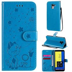 Embossing Bee and Cat Leather Wallet Case for Samsung Galaxy J6 (2018) SM-J600F - Blue