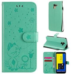 Embossing Bee and Cat Leather Wallet Case for Samsung Galaxy J6 (2018) SM-J600F - Green