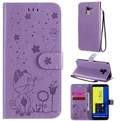 Embossing Bee and Cat Leather Wallet Case for Samsung Galaxy J6 (2018) SM-J600F - Purple