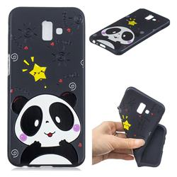 Cute Bear 3D Embossed Relief Black TPU Cell Phone Back Cover for Samsung Galaxy J6 Plus / J6 Prime