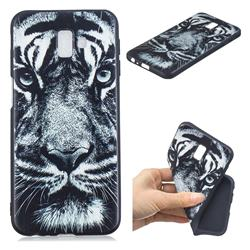 White Tiger 3D Embossed Relief Black TPU Cell Phone Back Cover for Samsung Galaxy J6 Plus / J6 Prime
