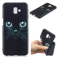 Bearded Feline 3D Embossed Relief Black TPU Cell Phone Back Cover for Samsung Galaxy J6 Plus / J6 Prime