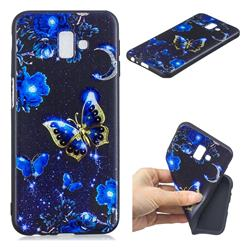 Phnom Penh Butterfly 3D Embossed Relief Black TPU Cell Phone Back Cover for Samsung Galaxy J6 Plus / J6 Prime