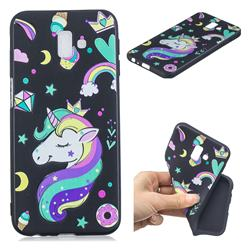 Candy Unicorn 3D Embossed Relief Black TPU Cell Phone Back Cover for Samsung Galaxy J6 Plus / J6 Prime