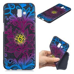 Colorful Lace 3D Embossed Relief Black TPU Cell Phone Back Cover for Samsung Galaxy J6 Plus / J6 Prime